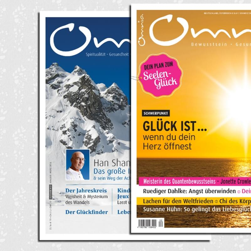 omnia magazin Freiheit – 2 Ausgaben: Achtsamkeit & Glück